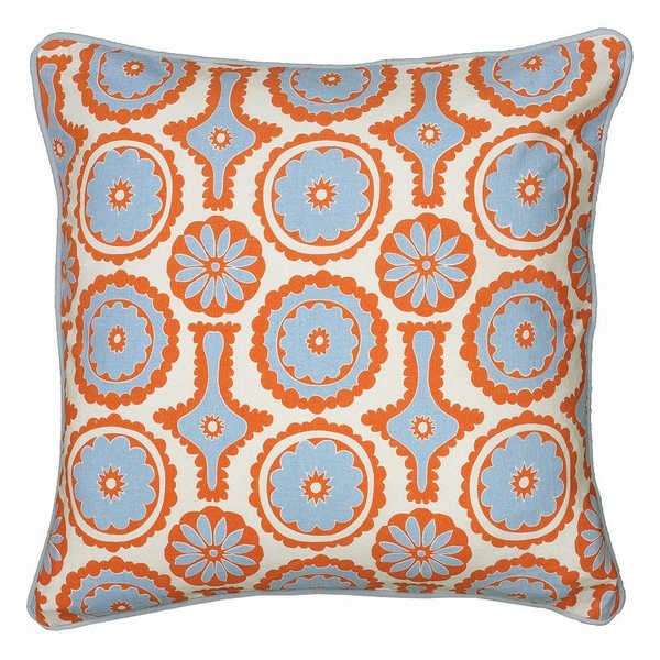 Rizzy Home Abstract Floral Throw Pillow, Orange