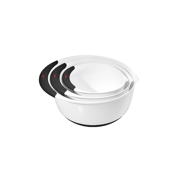 OXO 3pc Plastic Mixing Bowl Set with Black Handles